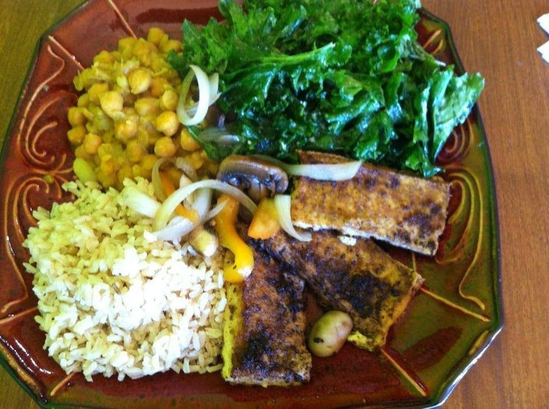 Baked Jerk Tofu, Curry Chana, Brown Rice, Kale Salad